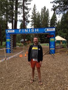 Standing in front of finish line
